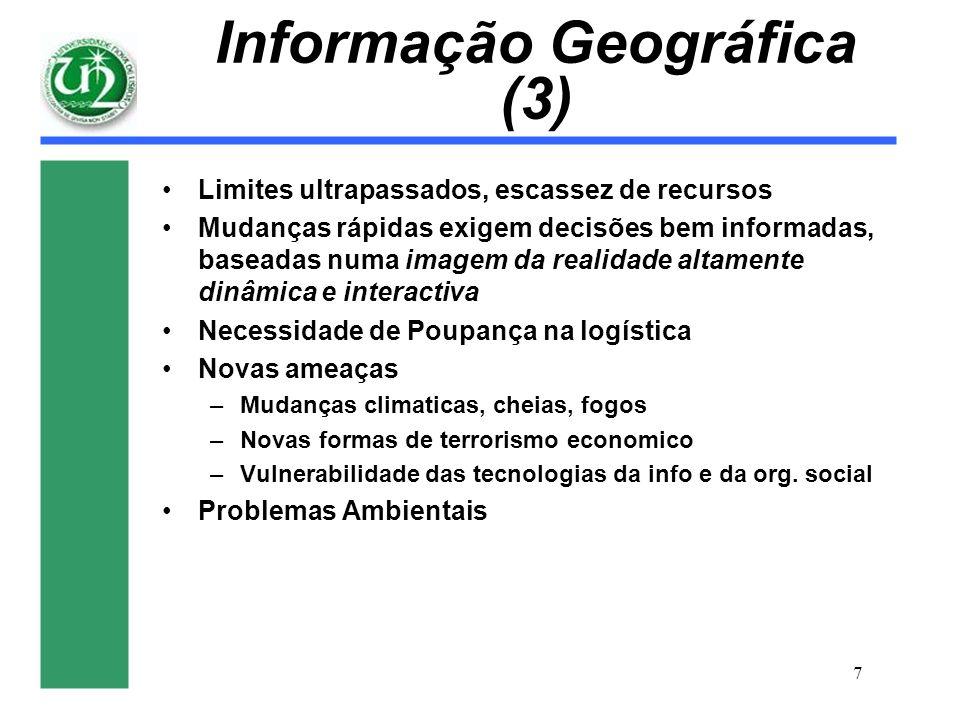 7 Informação Geográfica (3) Limites ultrapassados, escassez de recursos Mudanças rápidas exigem decisões bem informadas, baseadas numa imagem da reali