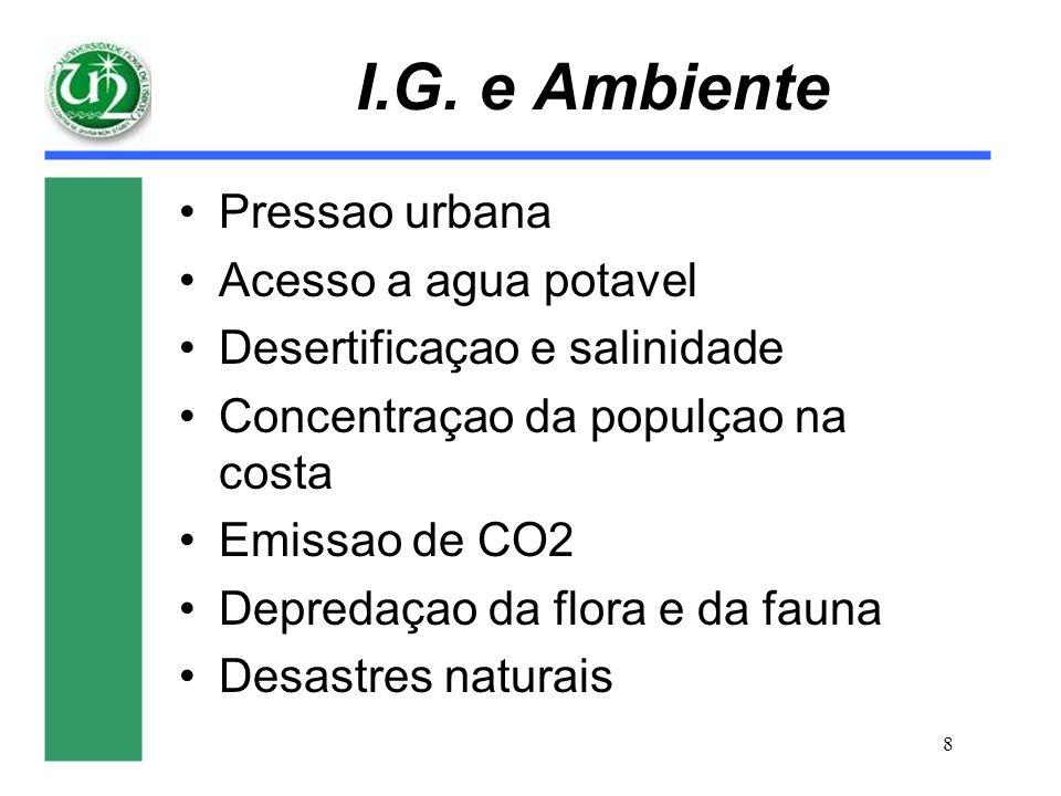 8 I.G. e Ambiente Pressao urbana Acesso a agua potavel Desertificaçao e salinidade Concentraçao da populçao na costa Emissao de CO2 Depredaçao da flor