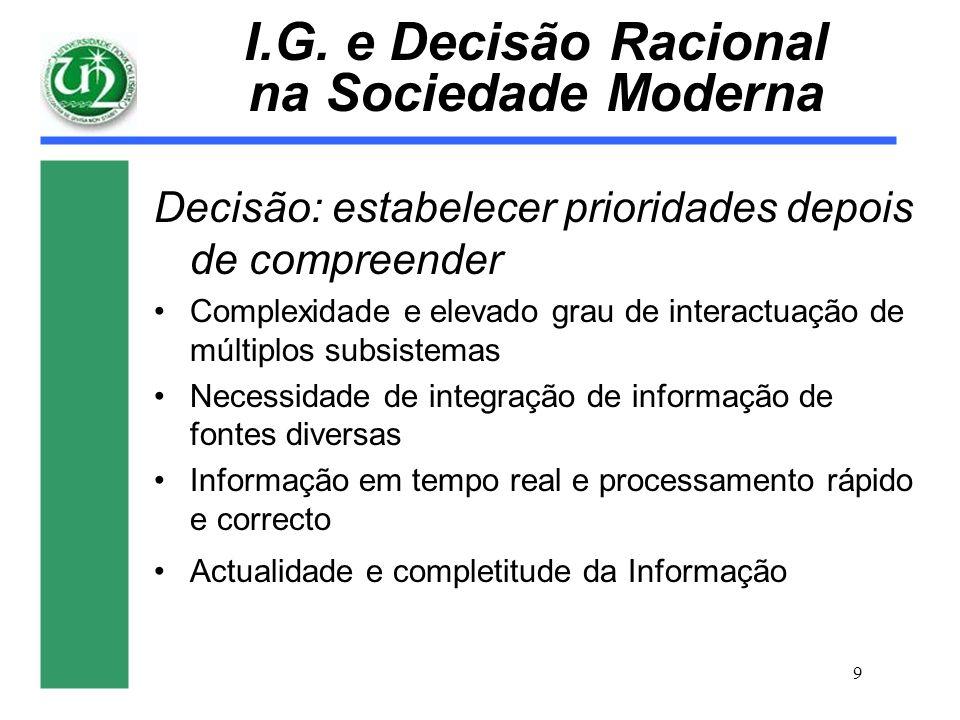 9 I.G. e Decisão Racional na Sociedade Moderna Decisão: estabelecer prioridades depois de compreender Complexidade e elevado grau de interactuação de