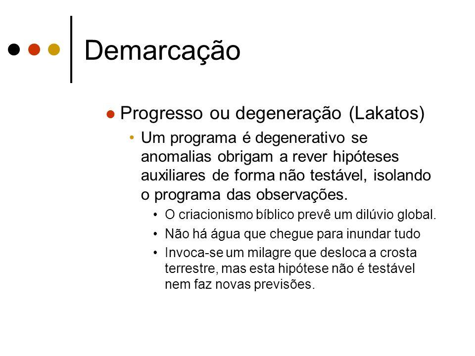 Demarcação Progresso ou degeneração (Lakatos) Um programa é degenerativo se anomalias obrigam a rever hipóteses auxiliares de forma não testável, isol
