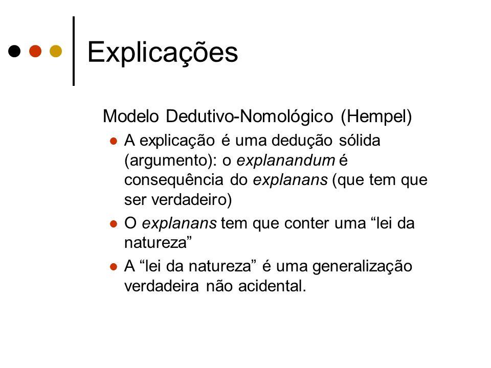 Explicações Modelo Dedutivo-Nomológico (Hempel) A explicação é uma dedução sólida (argumento): o explanandum é consequência do explanans (que tem que