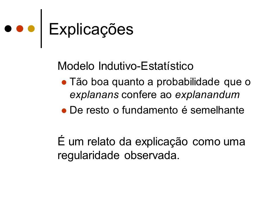 Explicações Modelo Indutivo-Estatístico Tão boa quanto a probabilidade que o explanans confere ao explanandum De resto o fundamento é semelhante É um