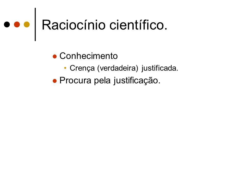 Raciocínio científico. Conhecimento Crença (verdadeira) justificada. Procura pela justificação.