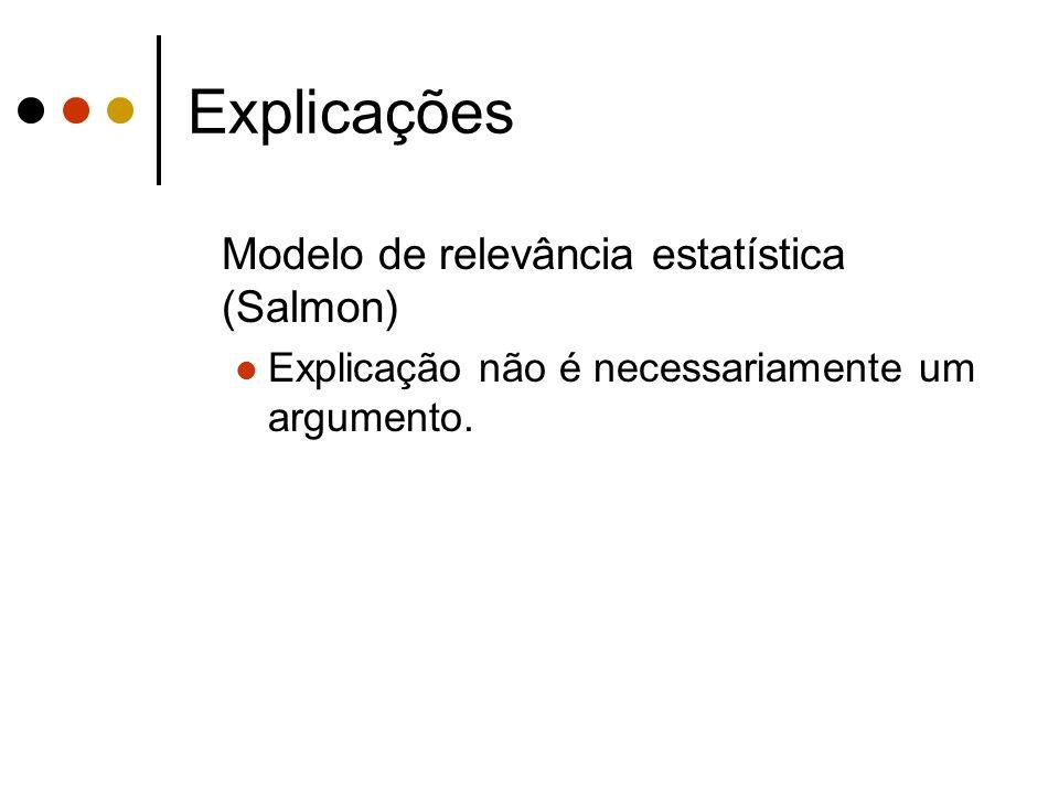 Explicações Modelo de relevância estatística (Salmon) Explicação não é necessariamente um argumento.