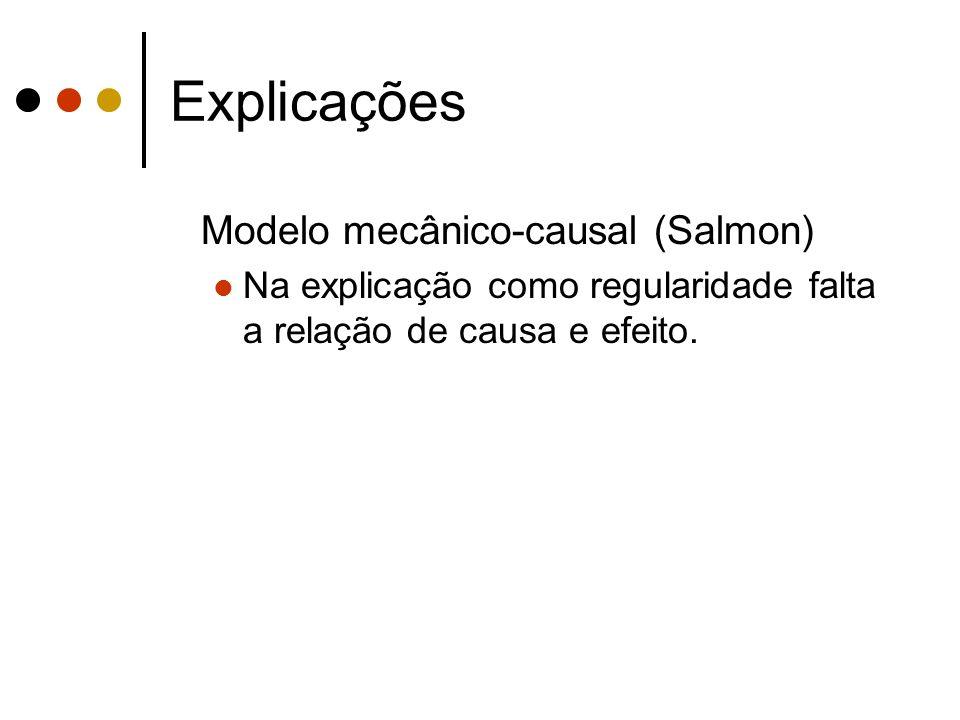 Explicações Modelo mecânico-causal (Salmon) Na explicação como regularidade falta a relação de causa e efeito.