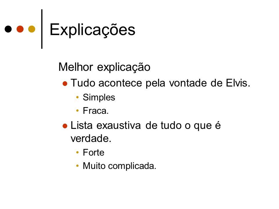 Explicações Melhor explicação Tudo acontece pela vontade de Elvis. Simples Fraca. Lista exaustiva de tudo o que é verdade. Forte Muito complicada.