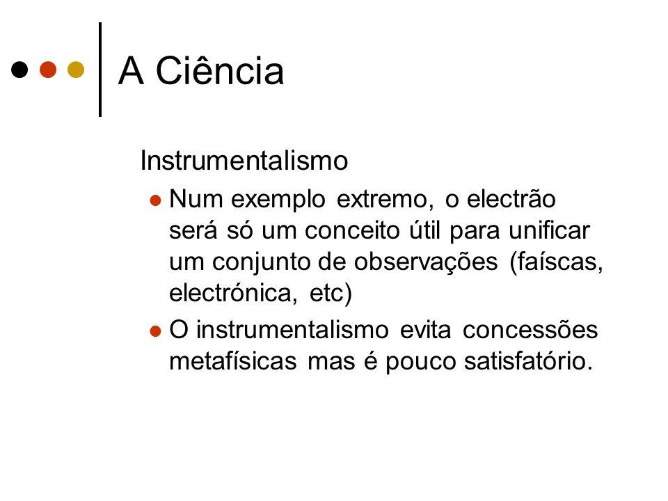 A Ciência Instrumentalismo Num exemplo extremo, o electrão será só um conceito útil para unificar um conjunto de observações (faíscas, electrónica, et