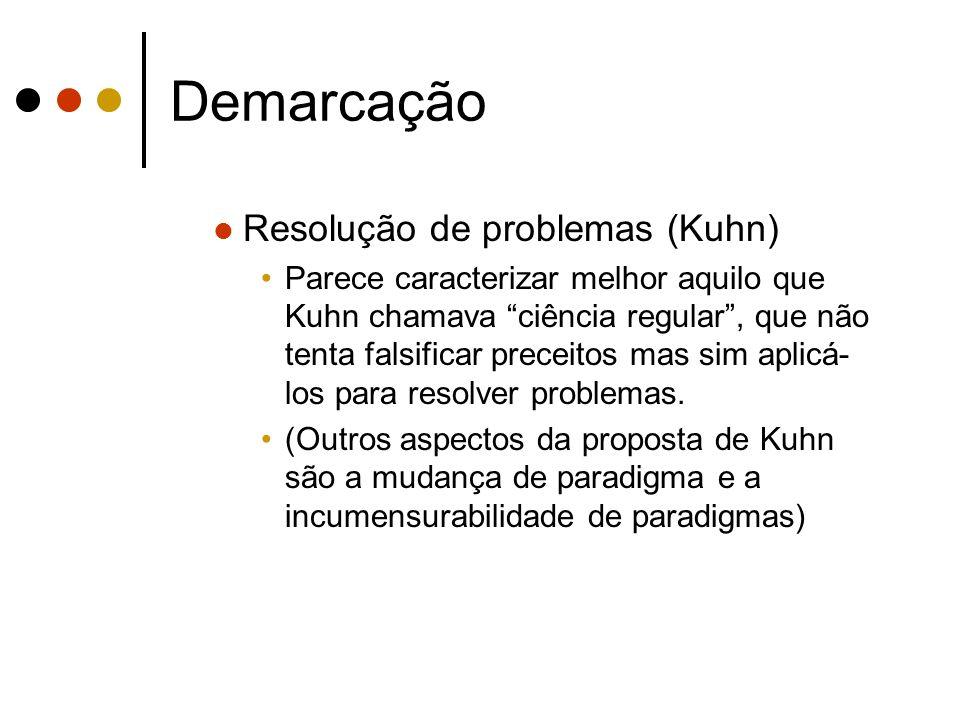 Demarcação Resolução de problemas (Kuhn) Parece caracterizar melhor aquilo que Kuhn chamava ciência regular, que não tenta falsificar preceitos mas si