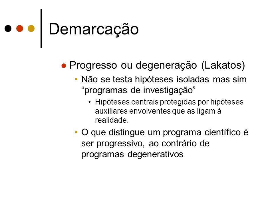 Demarcação Progresso ou degeneração (Lakatos) Um programa é progressivo se anomalias obrigam a rever hipóteses auxiliares de forma testável que leva a novas previsões confirmadas independentemente.