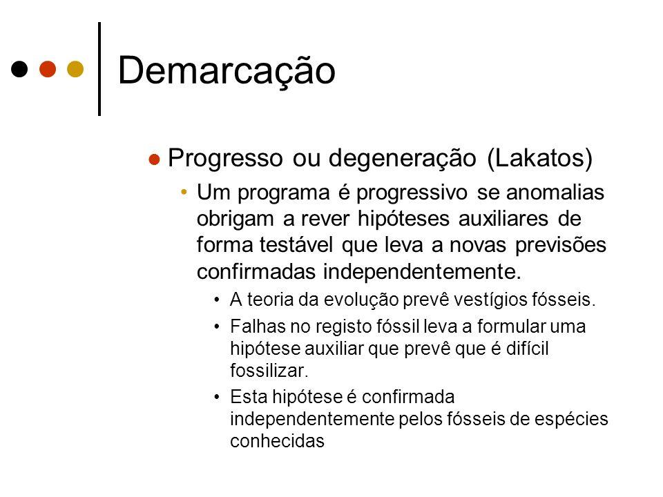 Demarcação Progresso ou degeneração (Lakatos) Um programa é degenerativo se anomalias obrigam a rever hipóteses auxiliares de forma não testável, isolando o programa das observações.
