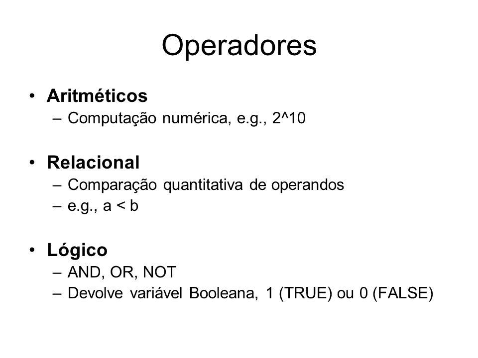 Operadores Aritméticos –Computação numérica, e.g., 2^10 Relacional –Comparação quantitativa de operandos –e.g., a < b Lógico –AND, OR, NOT –Devolve va