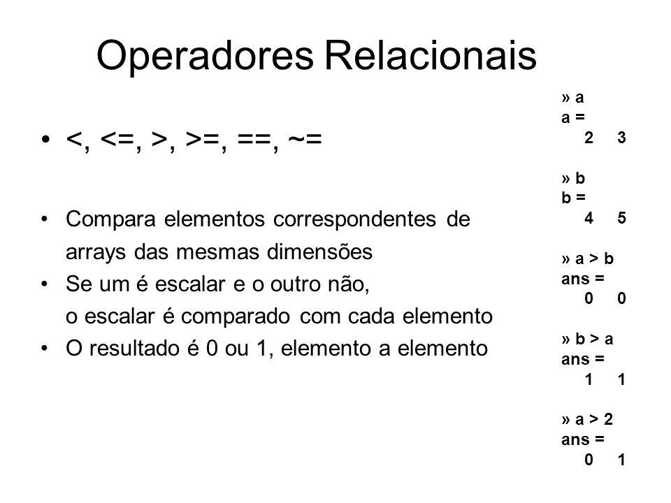 Operadores Relacionais, >=, ==, ~= Compara elementos correspondentes de arrays das mesmas dimensões Se um é escalar e o outro não, o escalar é compara