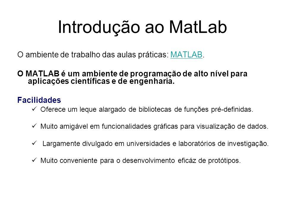 Introdução ao MatLab O ambiente de trabalho das aulas práticas: MATLAB.MATLAB O MATLAB é um ambiente de programação de alto nível para aplicações cien