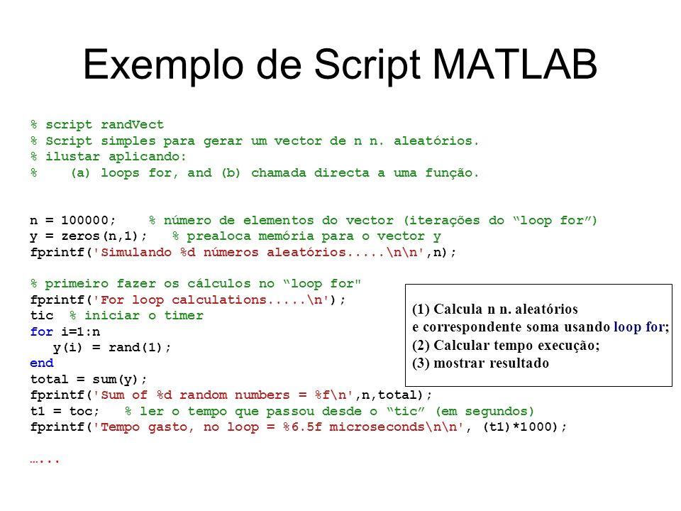 Exemplo de Script MATLAB % script randVect % Script simples para gerar um vector de n n. aleatórios. % ilustar aplicando: % (a) loops for, and (b) cha