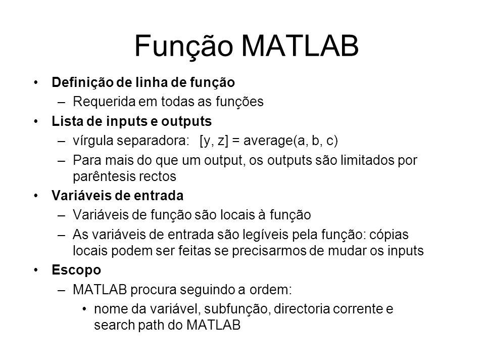 Função MATLAB Definição de linha de função –Requerida em todas as funções Lista de inputs e outputs –vírgula separadora: [y, z] = average(a, b, c) –Pa