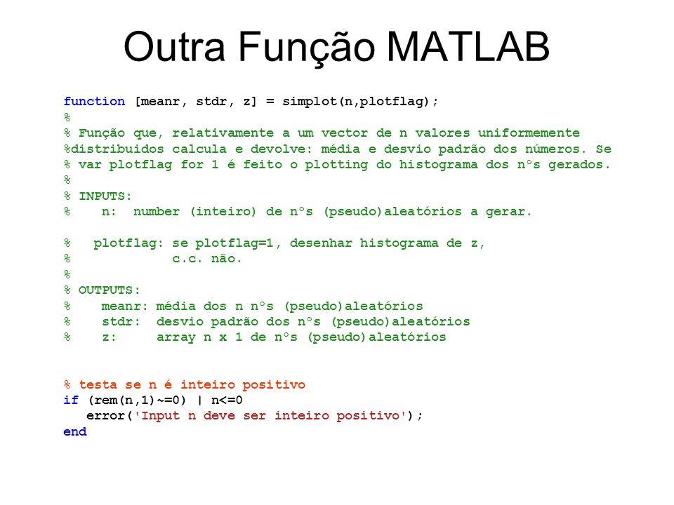 Outra Função MATLAB function [meanr, stdr, z] = simplot(n,plotflag); % % Função que, relativamente a um vector de n valores uniformemente %distribuido