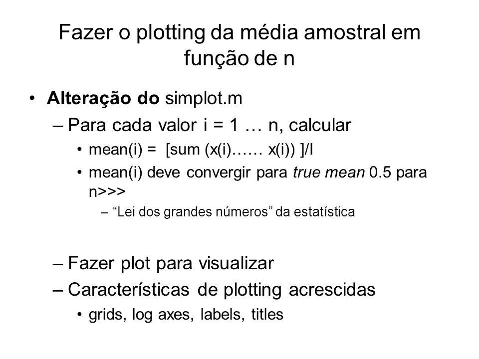 Fazer o plotting da média amostral em função de n Alteração do simplot.m –Para cada valor i = 1 … n, calcular mean(i) = [sum (x(i)…… x(i)) ]/I mean(i)