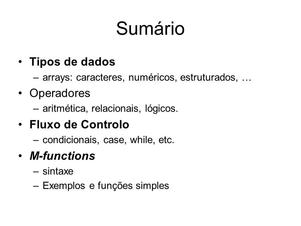 Sumário Tipos de dados –arrays: caracteres, numéricos, estruturados, … Operadores –aritmética, relacionais, lógicos. Fluxo de Controlo –condicionais,