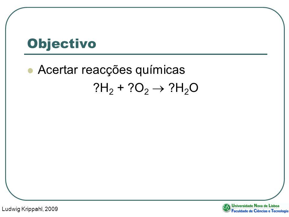 Ludwig Krippahl, 2009 14 Testar coeficientes ?H 2 + ?O 2 ?H 2 O Vector de coeficientes: [1 1 1] Estequiometria para cada elemento H 1 * 2 + 1 * 0 = 1 * 2 O 1 * 0 + 1 * 2 = 1 * 1