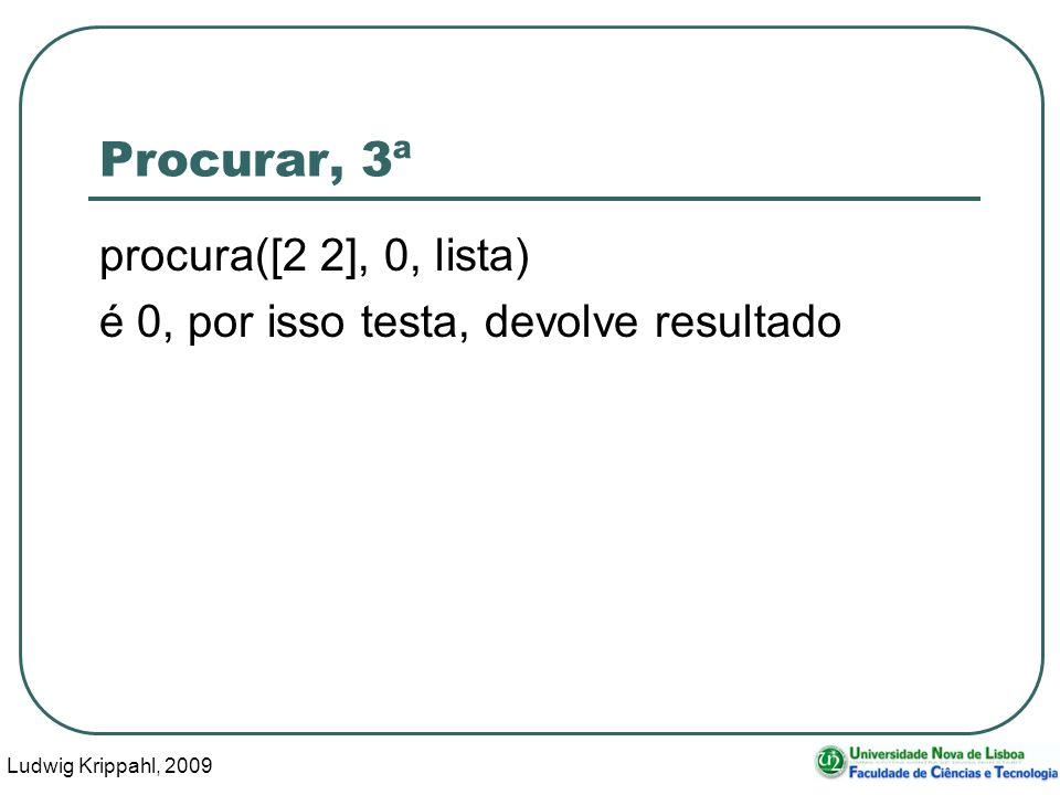 Ludwig Krippahl, 2009 32 Procurar, 3ª procura([2 2], 0, lista) é 0, por isso testa, devolve resultado