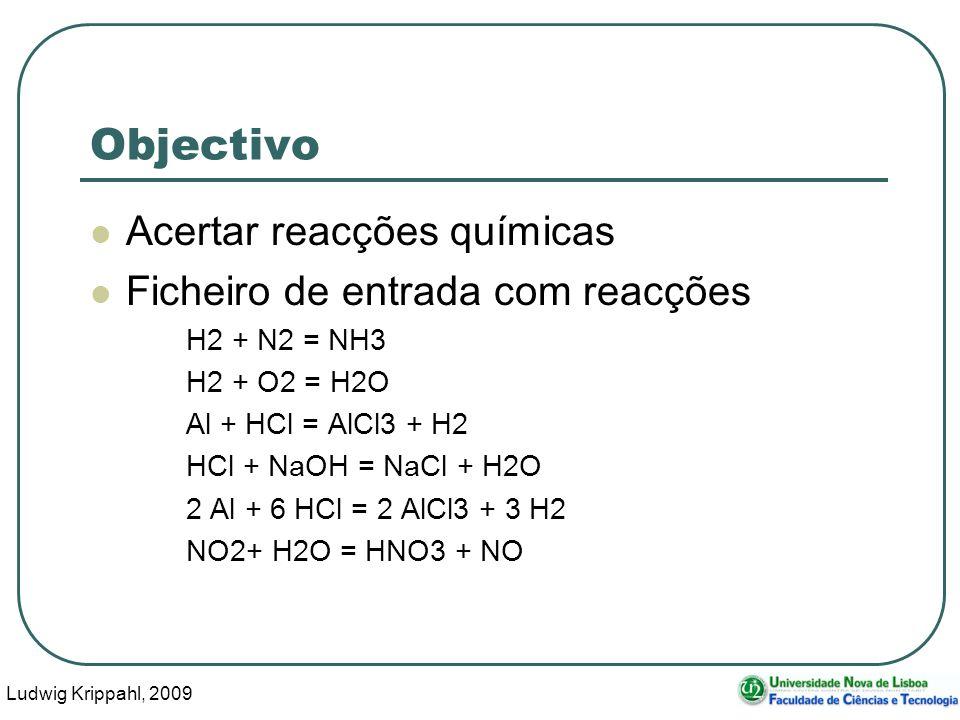 Ludwig Krippahl, 2009 6 Objectivo Acertar reacções químicas Ficheiro de entrada com reacções H2 + N2 = NH3 H2 + O2 = H2O Al + HCl = AlCl3 + H2 HCl + N