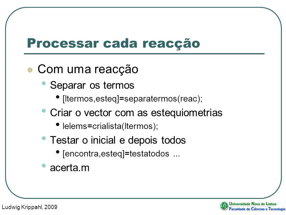 Ludwig Krippahl, 2009 20 Processar cada reacção Com uma reacção Separar os termos [ltermos,esteq]=separatermos(reac); Criar o vector com as estequiometrias lelems=crialista(ltermos); Testar o inicial e depois todos [encontra,esteq]=testatodos...