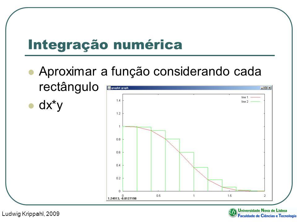 Ludwig Krippahl, 2009 24 Integração numérica Aproximar a função considerando cada rectângulo dx*y