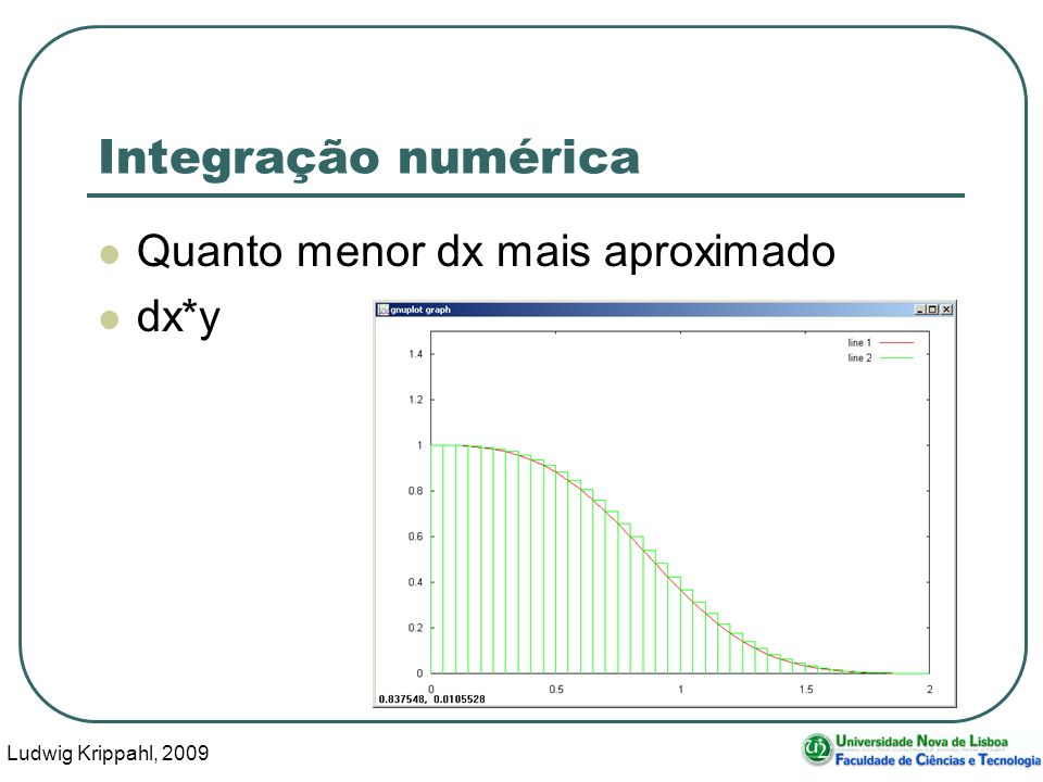 Ludwig Krippahl, 2009 26 Integração numérica function int=intexpxcubo(dx,x0,x1); int=0; for x=x0:dx:x1-dx int=int+dx*exp(-x^3); endfor endfunction
