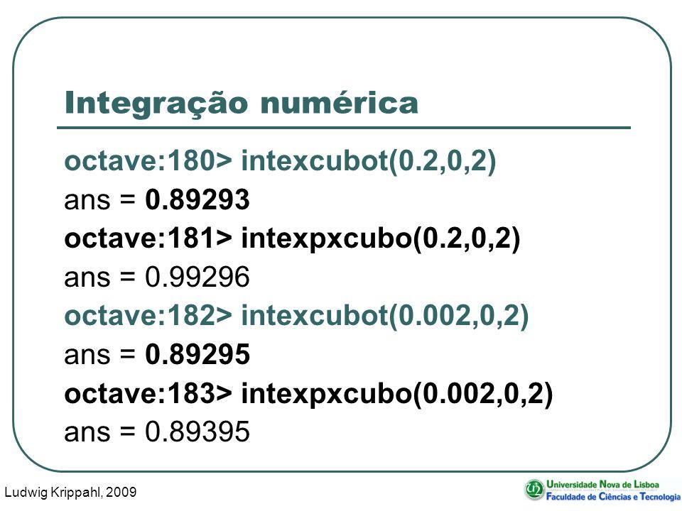 Ludwig Krippahl, 2009 32 Integração numérica octave:180> intexcubot(0.2,0,2) ans = 0.89293 octave:181> intexpxcubo(0.2,0,2) ans = 0.99296 octave:182> intexcubot(0.002,0,2) ans = 0.89295 octave:183> intexpxcubo(0.002,0,2) ans = 0.89395