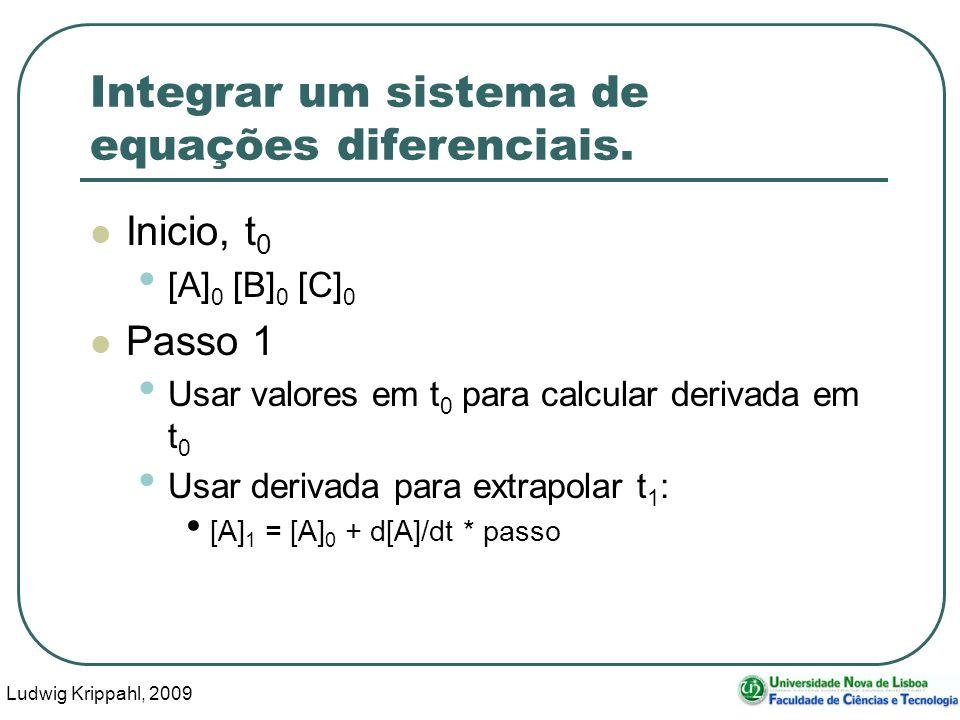 Ludwig Krippahl, 2009 39 Integrar um sistema de equações diferenciais.