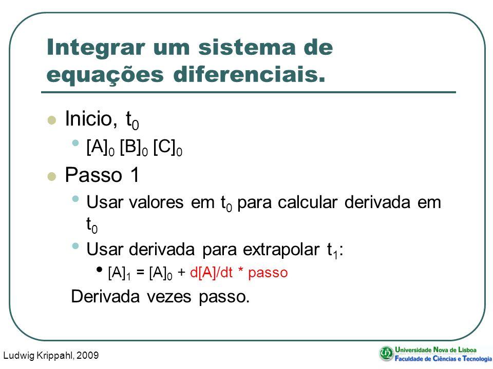 Ludwig Krippahl, 2009 42 Integrar um sistema de equações diferenciais.