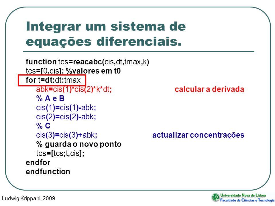 Ludwig Krippahl, 2009 44 Integrar um sistema de equações diferenciais.