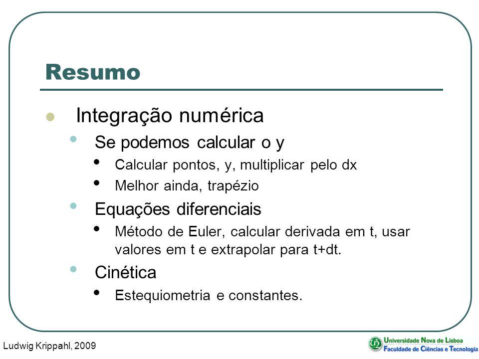Ludwig Krippahl, 2009 65 Resumo Integração numérica Se podemos calcular o y Calcular pontos, y, multiplicar pelo dx Melhor ainda, trapézio Equações diferenciais Método de Euler, calcular derivada em t, usar valores em t e extrapolar para t+dt.