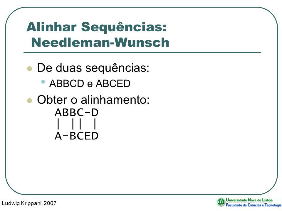 Ludwig Krippahl, 2007 43 Alinhar Sequências: Needleman-Wunsch De duas sequências: ABBCD e ABCED Obter o alinhamento: ABBC-D | || | A-BCED