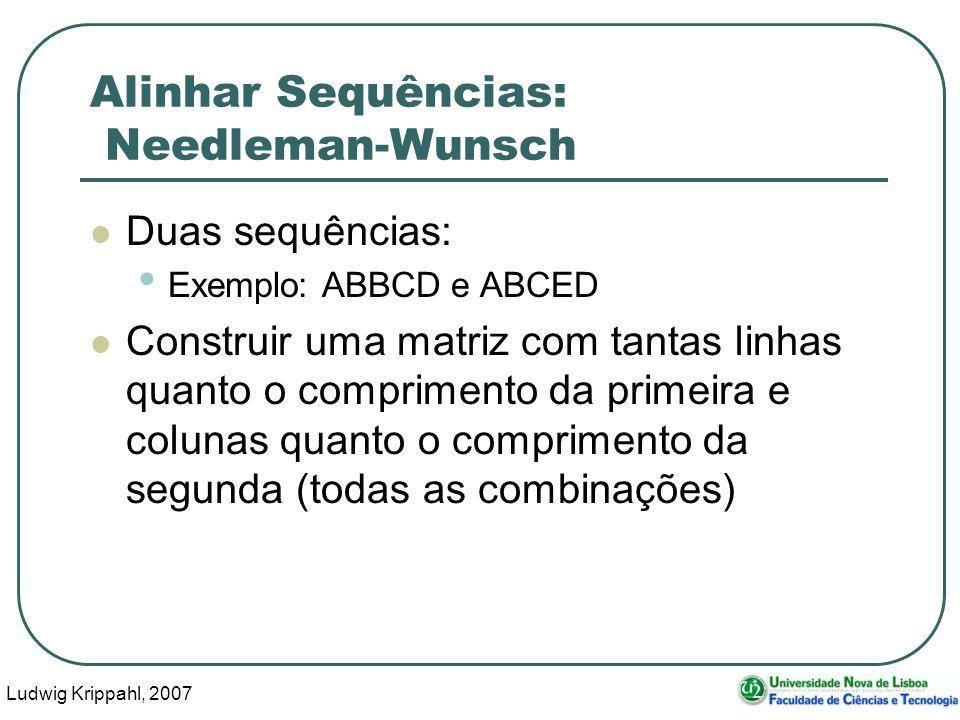 Ludwig Krippahl, 2007 44 Alinhar Sequências: Needleman-Wunsch Duas sequências: Exemplo: ABBCD e ABCED Construir uma matriz com tantas linhas quanto o
