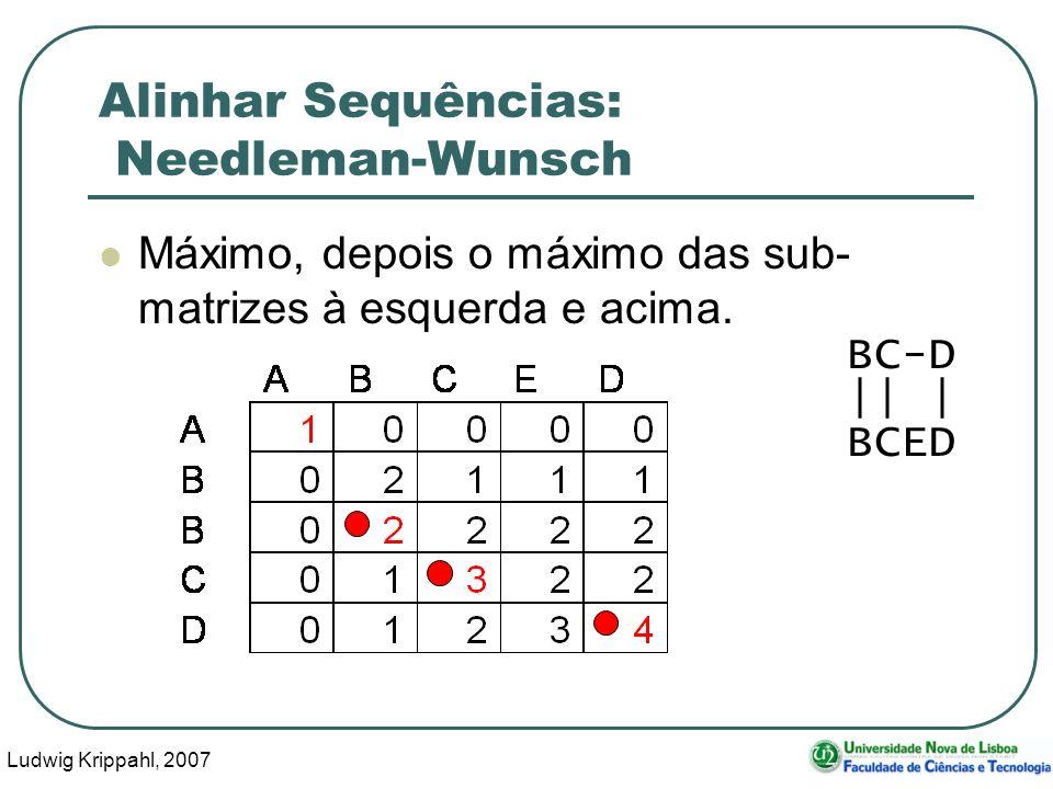 Ludwig Krippahl, 2007 54 Alinhar Sequências: Needleman-Wunsch Máximo, depois o máximo das sub- matrizes à esquerda e acima. BC-D || | BCED