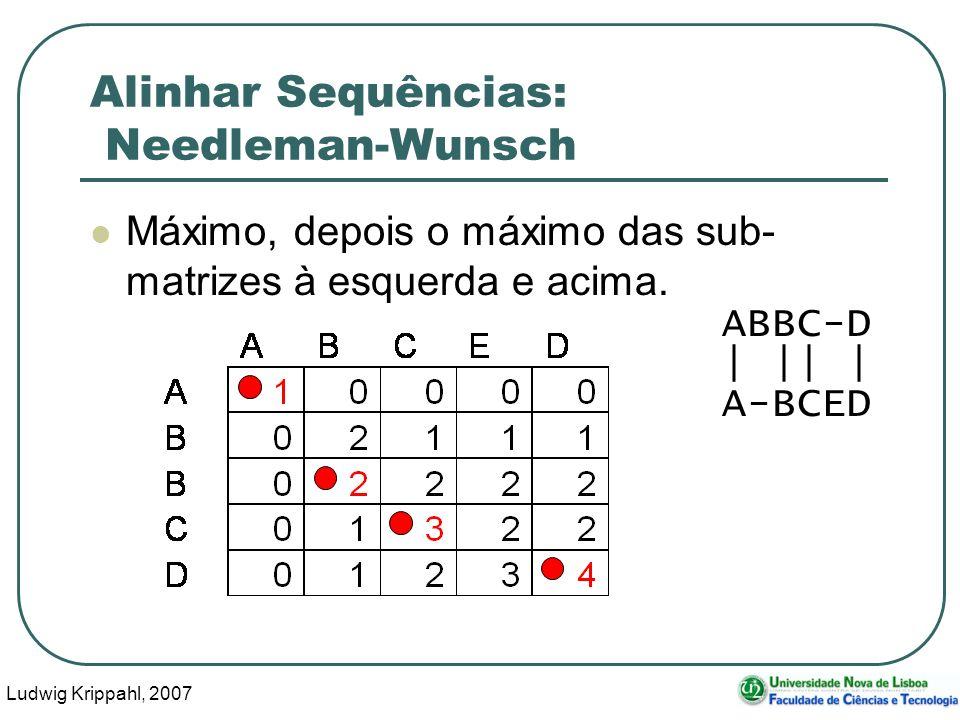 Ludwig Krippahl, 2007 55 Alinhar Sequências: Needleman-Wunsch Máximo, depois o máximo das sub- matrizes à esquerda e acima. ABBC-D | || | A-BCED