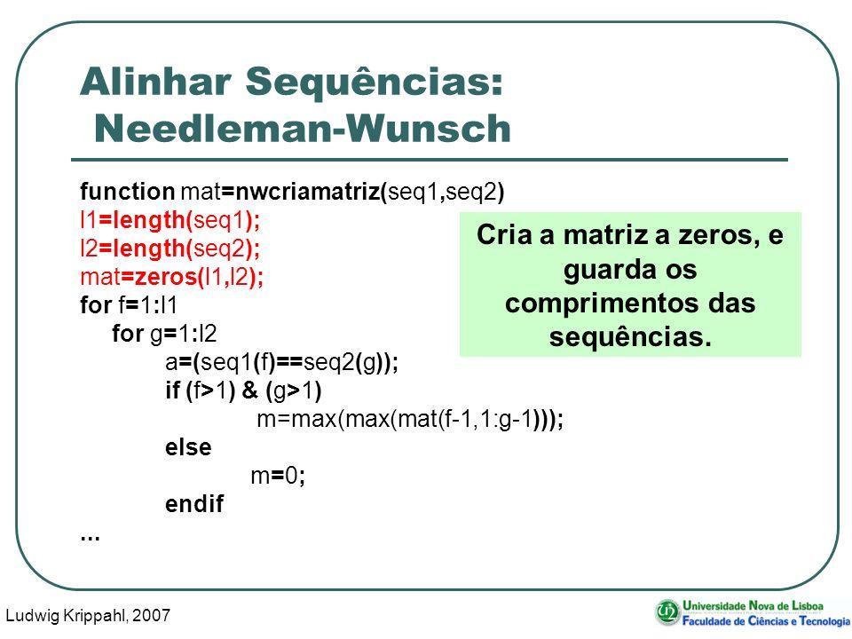 Ludwig Krippahl, 2007 58 Alinhar Sequências: Needleman-Wunsch function mat=nwcriamatriz(seq1,seq2) l1=length(seq1); l2=length(seq2); mat=zeros(l1,l2);