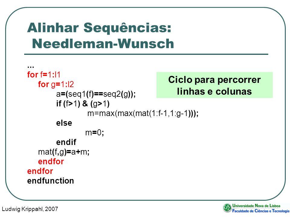 Ludwig Krippahl, 2007 59 Alinhar Sequências: Needleman-Wunsch... for f=1:l1 for g=1:l2 a=(seq1(f)==seq2(g)); if (f>1) & (g>1) m=max(max(mat(1:f-1,1:g-