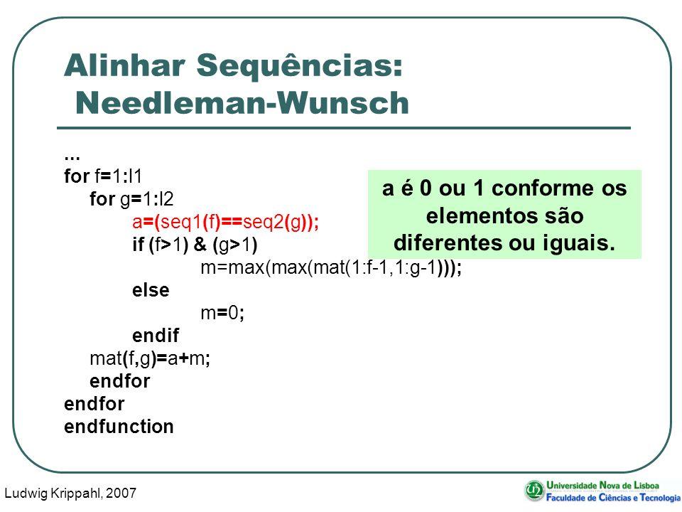 Ludwig Krippahl, 2007 60 Alinhar Sequências: Needleman-Wunsch... for f=1:l1 for g=1:l2 a=(seq1(f)==seq2(g)); if (f>1) & (g>1) m=max(max(mat(1:f-1,1:g-