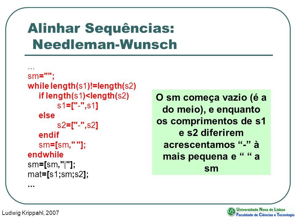 Ludwig Krippahl, 2007 73 Alinhar Sequências: Needleman-Wunsch... sm=