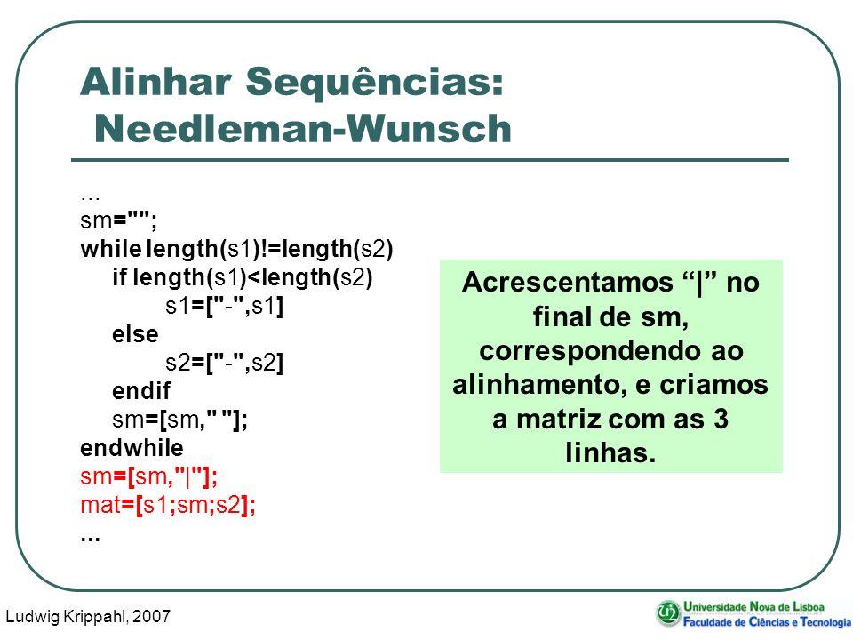Ludwig Krippahl, 2007 74 Alinhar Sequências: Needleman-Wunsch... sm=