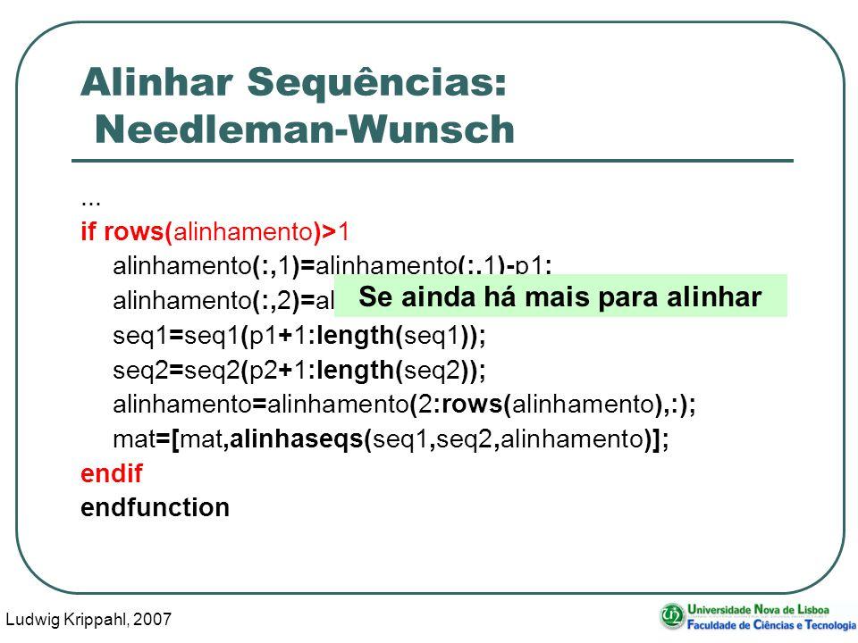 Ludwig Krippahl, 2007 75 Alinhar Sequências: Needleman-Wunsch... if rows(alinhamento)>1 alinhamento(:,1)=alinhamento(:,1)-p1; alinhamento(:,2)=alinham