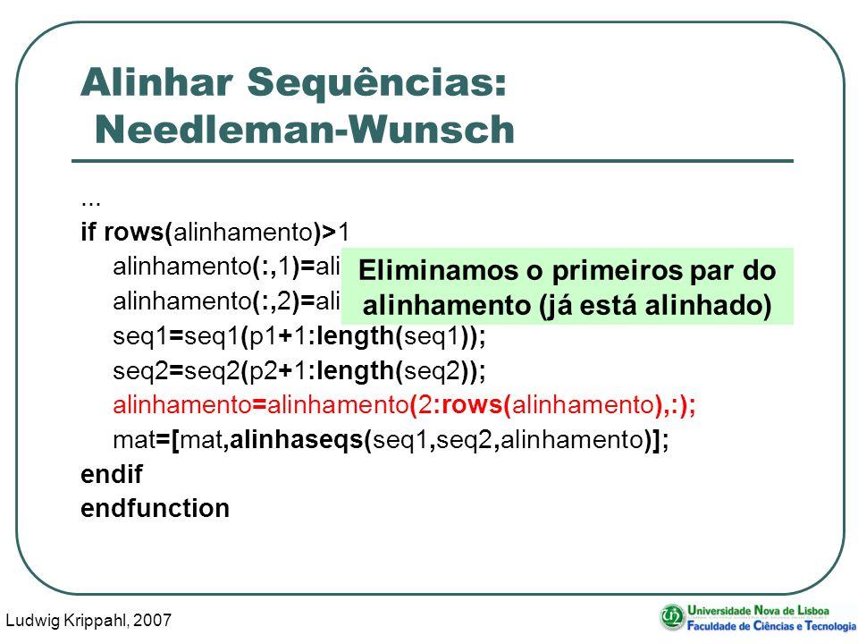 Ludwig Krippahl, 2007 78 Alinhar Sequências: Needleman-Wunsch... if rows(alinhamento)>1 alinhamento(:,1)=alinhamento(:,1)-p1; alinhamento(:,2)=alinham
