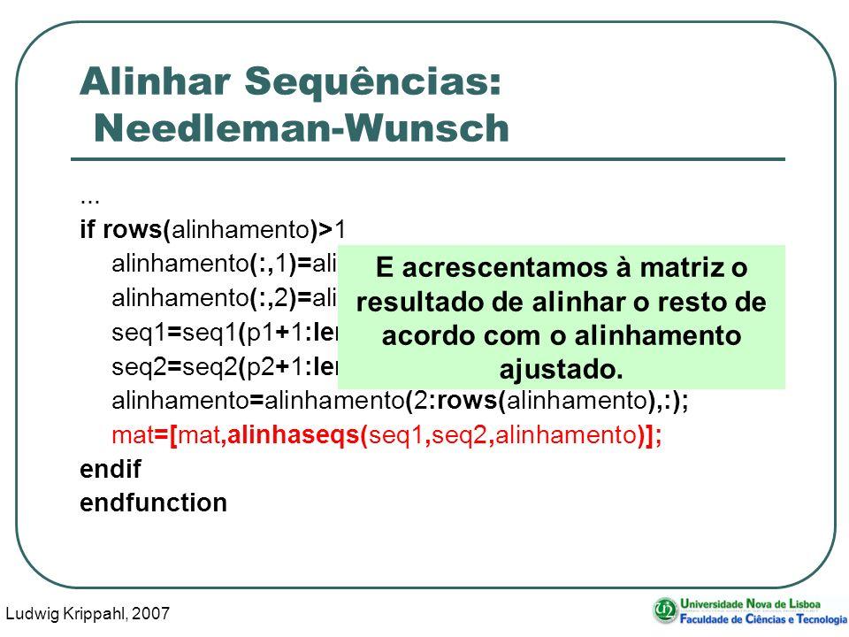 Ludwig Krippahl, 2007 79 Alinhar Sequências: Needleman-Wunsch... if rows(alinhamento)>1 alinhamento(:,1)=alinhamento(:,1)-p1; alinhamento(:,2)=alinham
