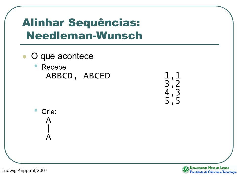 Ludwig Krippahl, 2007 80 Alinhar Sequências: Needleman-Wunsch O que acontece Recebe ABBCD, ABCED 1,1 3,2 4,3 5,5 Cria: A | A