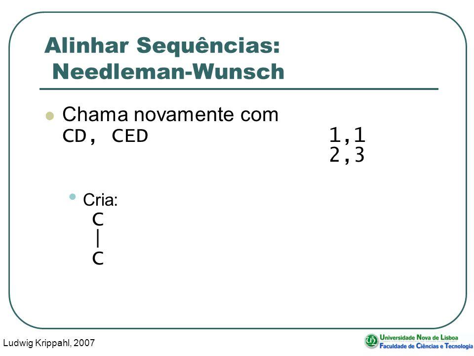 Ludwig Krippahl, 2007 82 Alinhar Sequências: Needleman-Wunsch Chama novamente com CD, CED 1,1 2,3 Cria: C | C