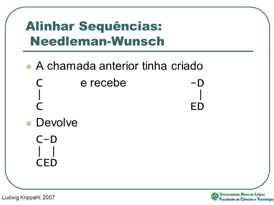 Ludwig Krippahl, 2007 84 Alinhar Sequências: Needleman-Wunsch A chamada anterior tinha criado C e recebe -D | CED Devolve C-D | CED