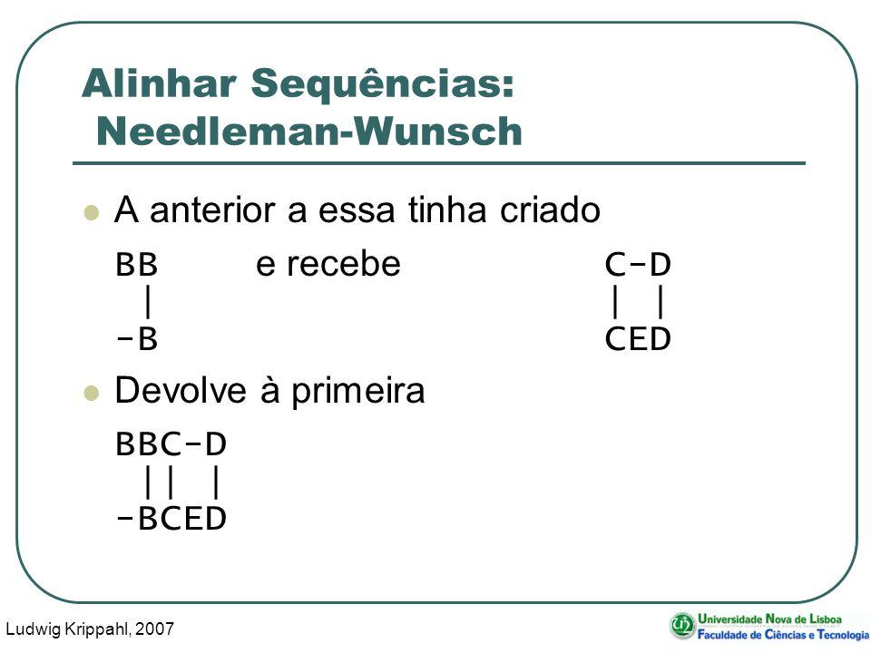 Ludwig Krippahl, 2007 85 Alinhar Sequências: Needleman-Wunsch A anterior a essa tinha criado BB e recebe C-D || | -BCED Devolve à primeira BBC-D || |