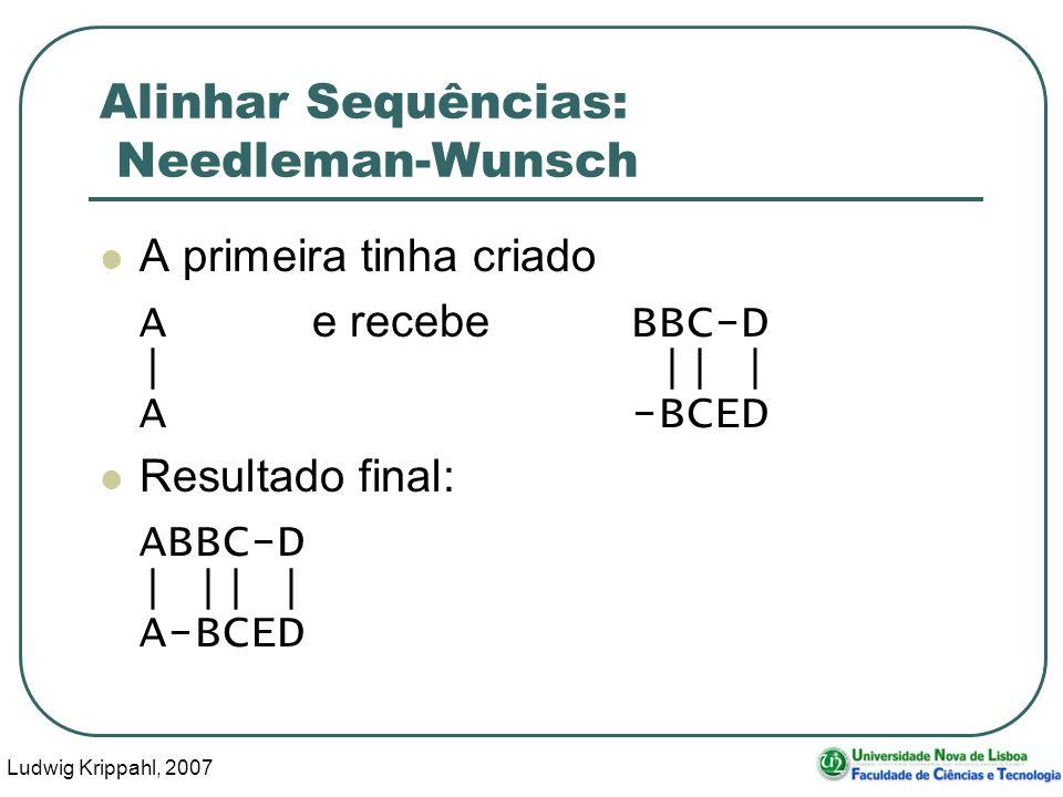 Ludwig Krippahl, 2007 86 Alinhar Sequências: Needleman-Wunsch A primeira tinha criado A e recebe BBC-D | || | A-BCED Resultado final: ABBC-D | || | A-